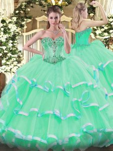 Sleeveless Floor Length Beading and Ruffles Lace Up Quince Ball Gowns with Apple Green