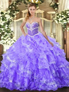 Amazing Lavender Ball Gowns Beading and Ruffled Layers 15th Birthday Dress Lace Up Organza Sleeveless Floor Length