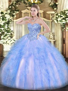 Chic Blue And White Sweet 16 Dress Sweet 16 and Quinceanera with Appliques and Ruffles Sweetheart Sleeveless Lace Up