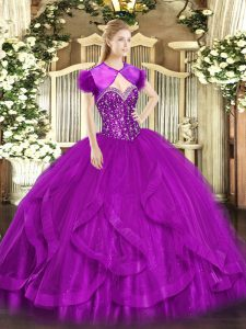 Designer Ball Gowns Quinceanera Dresses Fuchsia Sweetheart Tulle Sleeveless Floor Length Lace Up