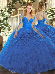 Fashionable Blue Lace Up Quinceanera Dresses Lace and Ruffles Long Sleeves Floor Length