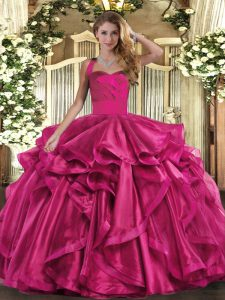 Fuchsia Halter Top Neckline Ruffles Quinceanera Gowns Sleeveless Lace Up