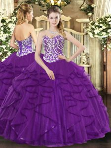 Discount Purple Sleeveless Floor Length Beading and Ruffles Lace Up Ball Gown Prom Dress
