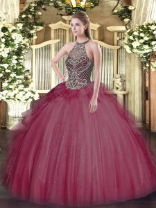Halter Top Sleeveless Ball Gown Prom Dress Floor Length Beading Burgundy Tulle