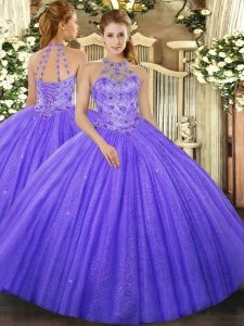 Floor Length Lavender Sweet 16 Quinceanera Dress Tulle Sleeveless Beading and Embroidery
