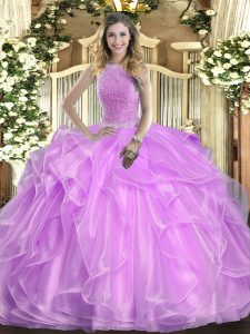 Organza High-neck Sleeveless Lace Up Beading and Ruffles Sweet 16 Dress in Lilac