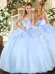 Spectacular Sleeveless Floor Length Beading Lace Up Quince Ball Gowns with Light Blue