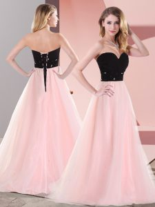 Extravagant Tulle Sweetheart Sleeveless Lace Up Belt in Pink And Black