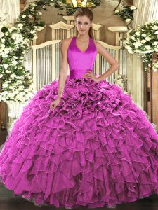 Edgy Sleeveless Floor Length Ruffles Lace Up Ball Gown Prom Dress with Fuchsia
