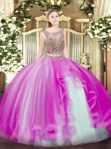 Custom Designed Fuchsia Scoop Lace Up Beading and Ruffles Quinceanera Dresses Sleeveless