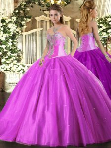 Lilac Sweetheart Lace Up Beading Quinceanera Gown Sleeveless