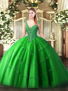 Stunning Tulle V-neck Sleeveless Lace Up Beading and Appliques Sweet 16 Dresses in Green