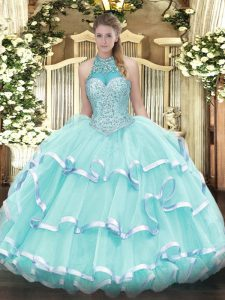 Edgy Halter Top Sleeveless Organza Sweet 16 Quinceanera Dress Beading and Ruffled Layers Lace Up