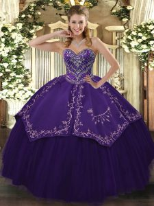 Purple Sleeveless Taffeta and Tulle Lace Up Quinceanera Gowns for Prom and Military Ball and Sweet 16 and Quinceanera