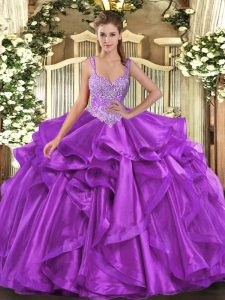 Dynamic Straps Sleeveless Lace Up Quince Ball Gowns Eggplant Purple Organza