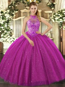 Enchanting Floor Length Ball Gowns Sleeveless Fuchsia 15 Quinceanera Dress Lace Up