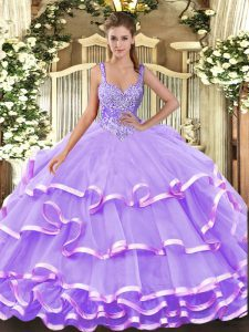 Floor Length Lace Up 15 Quinceanera Dress Lavender for Military Ball and Sweet 16 and Quinceanera with Beading and Ruffled Layers