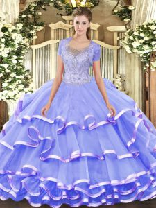 Captivating Lavender Ball Gowns Beading and Ruffled Layers 15 Quinceanera Dress Clasp Handle Lace Sleeveless Floor Length