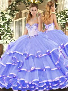 Dramatic Lavender Quinceanera Gowns Military Ball and Sweet 16 and Quinceanera with Beading and Ruffled Layers Sweetheart Sleeveless Lace Up