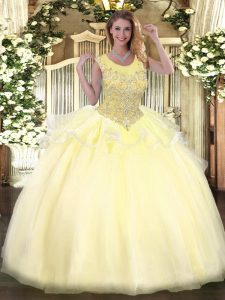 Fashion Scoop Sleeveless Zipper Sweet 16 Quinceanera Dress Light Yellow Organza