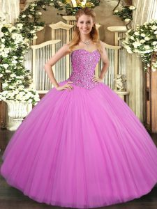 Designer Lilac Sweetheart Lace Up Beading Sweet 16 Dress Sleeveless