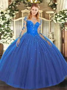 Elegant Long Sleeves Lace Up Floor Length Lace Sweet 16 Dress