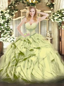 Glittering Floor Length Olive Green Sweet 16 Quinceanera Dress Sweetheart Sleeveless Lace Up