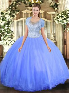 Floor Length Clasp Handle Quinceanera Dress Blue for Military Ball and Sweet 16 and Quinceanera with Beading