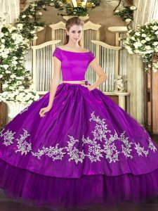 Top Selling Short Sleeves Floor Length Embroidery Zipper Quinceanera Gowns with Purple