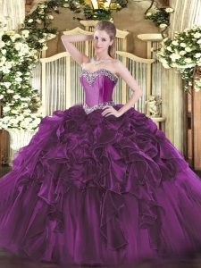 Sleeveless Organza Floor Length Lace Up Quinceanera Dresses in Purple with Beading and Ruffles