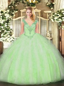 Artistic Yellow Green Ball Gowns Beading and Ruffles Quinceanera Gown Lace Up Organza Sleeveless Floor Length