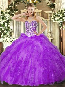 On Sale Floor Length Lace Up 15th Birthday Dress Lavender for Military Ball and Sweet 16 and Quinceanera with Beading and Ruffles