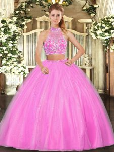Traditional Hot Pink Ball Gown Prom Dress Military Ball and Sweet 16 and Quinceanera with Beading Halter Top Sleeveless Criss Cross