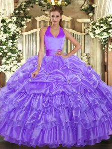 Beautiful Sleeveless Floor Length Ruffled Layers and Pick Ups Lace Up Quinceanera Dresses with Lavender