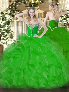 Sleeveless Organza Floor Length Lace Up Vestidos de Quinceanera in Green with Beading and Ruffles