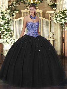 Custom Made Black Lace Up Sweetheart Beading Sweet 16 Quinceanera Dress Tulle Sleeveless
