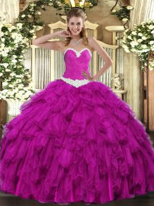 Flare Sleeveless Floor Length Appliques and Ruffles Lace Up Sweet 16 Dresses with Fuchsia
