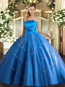 Wonderful Strapless Sleeveless Sweet 16 Dresses Floor Length Appliques Blue Tulle