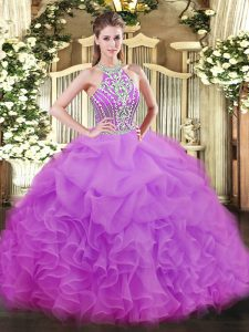 Custom Designed Floor Length Lace Up Sweet 16 Quinceanera Dress Lilac for Military Ball and Sweet 16 and Quinceanera with Beading and Ruffles