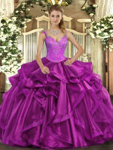 Exquisite Straps Sleeveless Organza Quinceanera Dresses Beading and Ruffles Lace Up