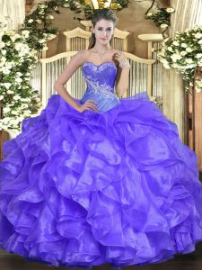 Popular Lavender Ball Gowns Organza Sweetheart Sleeveless Beading and Ruffles Floor Length Lace Up Quinceanera Dresses