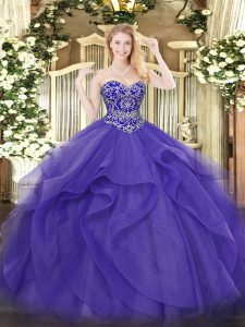 Glorious Sleeveless Beading and Ruffles Lace Up Sweet 16 Dresses