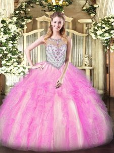 Lilac Ball Gowns Beading and Ruffles Quinceanera Gown Zipper Tulle Sleeveless Floor Length