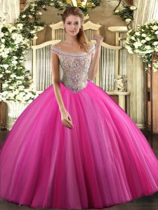 Customized Hot Pink Tulle Lace Up 15 Quinceanera Dress Sleeveless Floor Length Beading