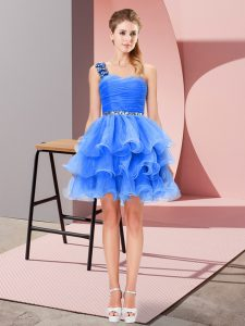 Fashionable Sleeveless Organza Mini Length Lace Up Prom Gown in Blue with Beading and Ruffled Layers