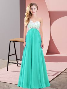 New Style Beading Evening Dress Turquoise Criss Cross Sleeveless Floor Length