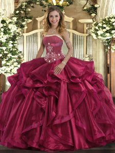 Strapless Sleeveless Lace Up Sweet 16 Quinceanera Dress Red Organza
