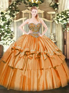 Shining Floor Length Orange Quinceanera Dresses Organza Sleeveless Beading and Ruffled Layers