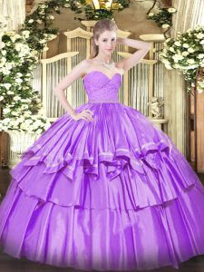 Graceful Lilac Ball Gowns Beading and Lace and Ruffled Layers Sweet 16 Dress Zipper Organza Sleeveless Floor Length