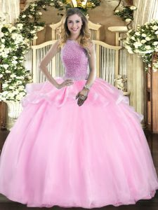 Sleeveless Floor Length Beading Lace Up Ball Gown Prom Dress with Pink